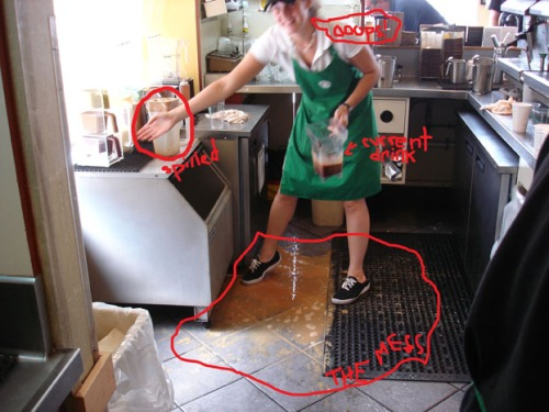 Me spilling the frappuccino mix on my last day.